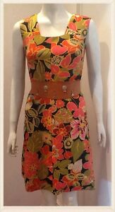 Vintage-1960s-Floral-Tropical-Bright-Summer-Print-Mini-Dress-Size-10-12-UK