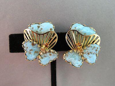 VTG Hobe Earrings Hearts Flowers Blue Glass Gold Foil Speckled Pear Rhinestones