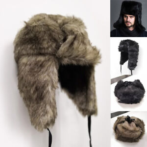 1c777f772b1 Men Women Winter Faux Fur Hat Russian Ushanka Cossack Cap Trapper ...