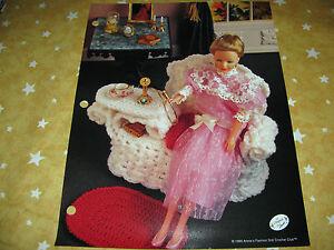 Wicker Gossip Bench /& Rug ~ fits Barbie dolls Annie/'s crochet pattern leaflet