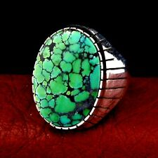 Native American Made Sterling Silver Men's Turquoise Ring Size 12.5 --- R32 B T