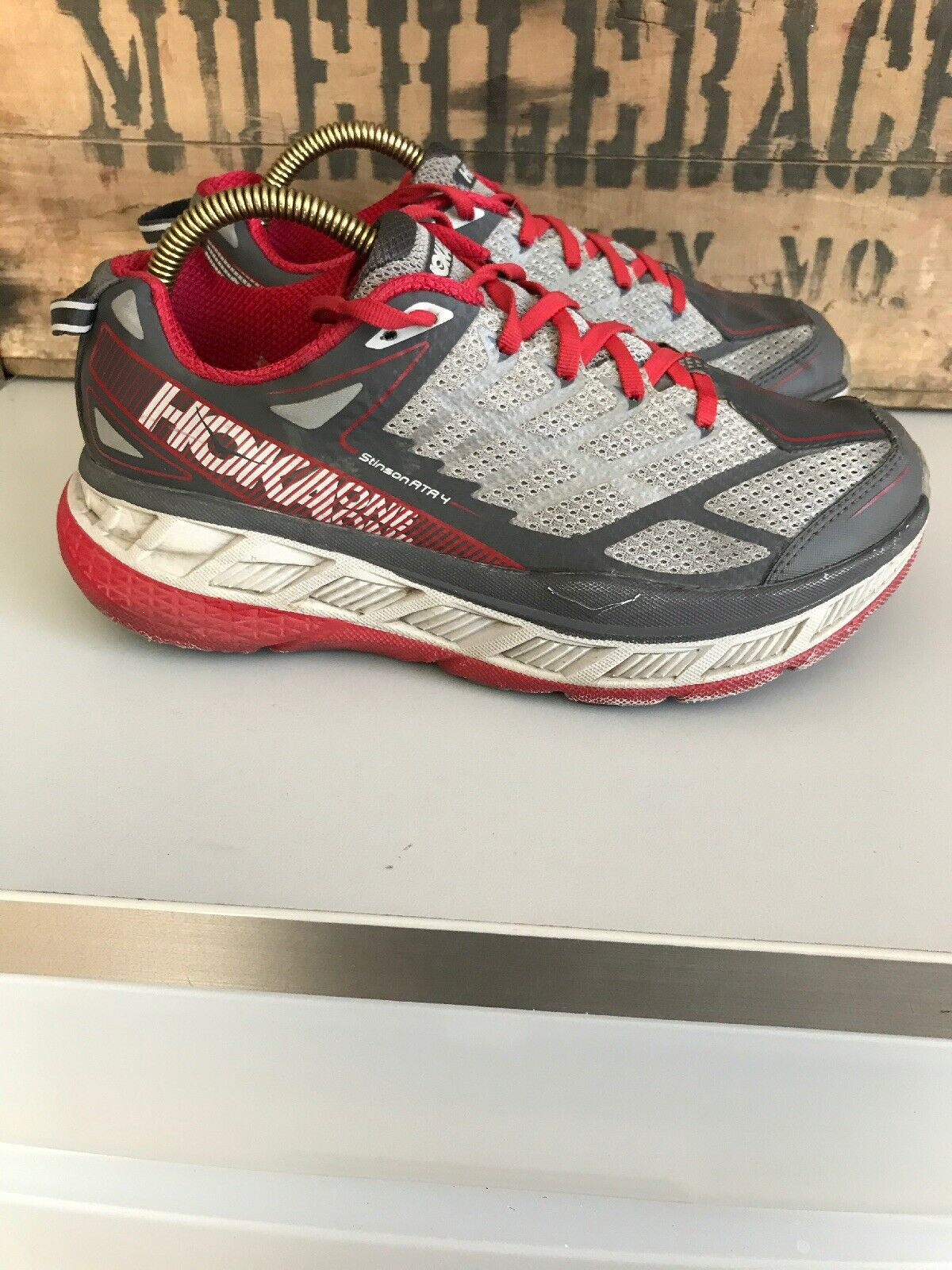 Hoka One One STINSON ATR 4 para hombre Athletic Trail Running zapatos 7 Rojo gris