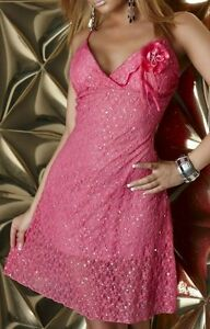 SeXy MiSS Damen Glitzer Abend Kleid Edel Spitze Cocktail Dress 34 36 ... 8d6d8c58a2