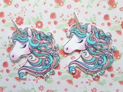2 x Large Gorgeous Unicorn Flatback Planar Resin Embellishment Craft Bow
