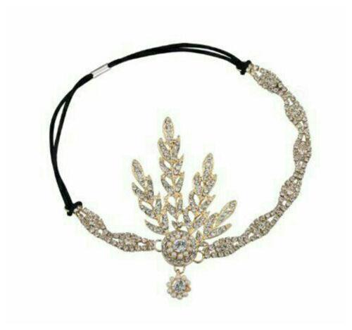 1920s Great Gatsby Inspired Headband Bridal Wedding Tiaras hair Accessory Gold
