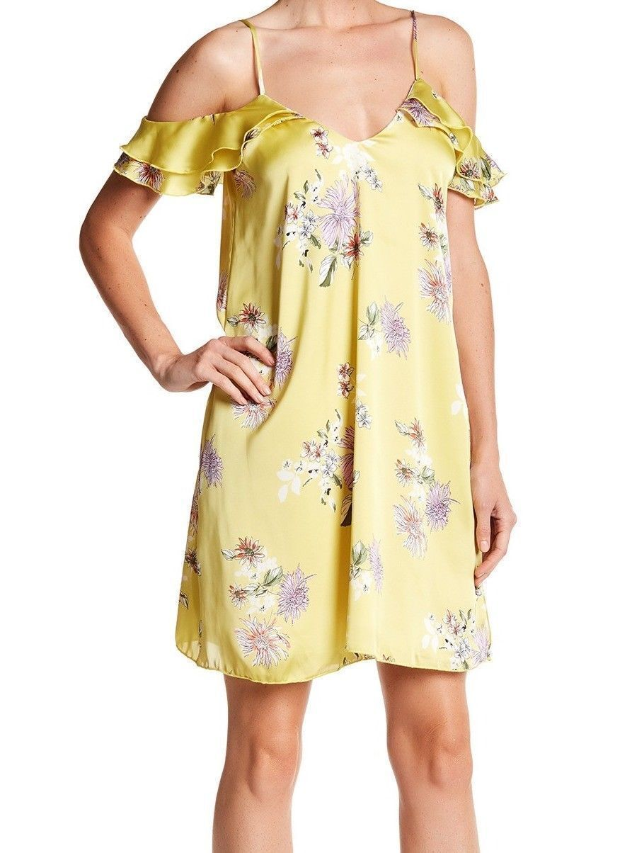 The Vanity Room Yellow Boho Floral Shift Dress Ruffle Strappy Dress Sz M NEW