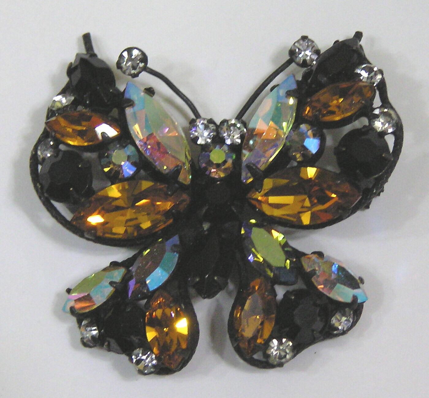 Blackened Rare Regency Multi-Color Rhinestone Butterfly Japanned Brooch