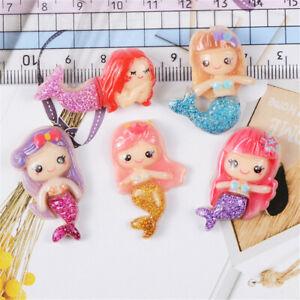 17x35mm-Resin-Craft-Cabochons-Flatbacks-12-pcs-Glitter-Mermaid-Jewellery-Decors
