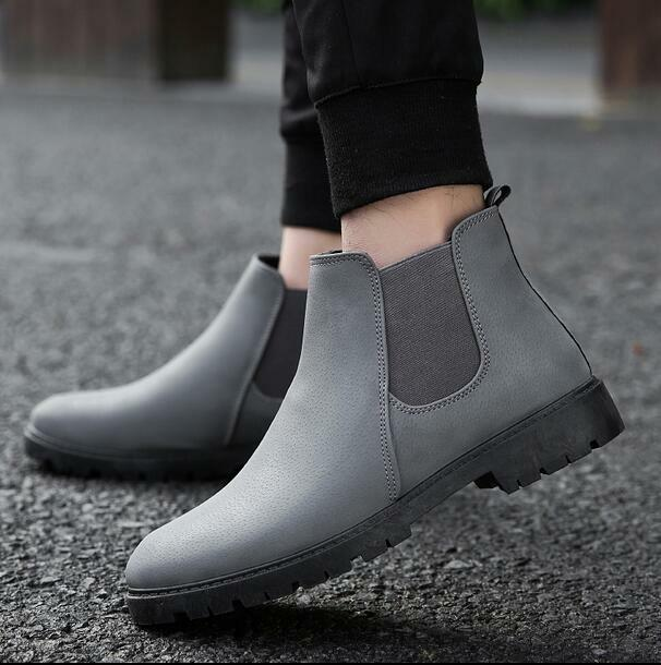Mens Chelsea High Top Ankle Boots British Style Casual shoes Round Toe Korean