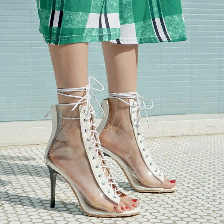 Clear Women's Lace Up Peep Toe Transparent Ankle Boots Sandals High Heel shoes