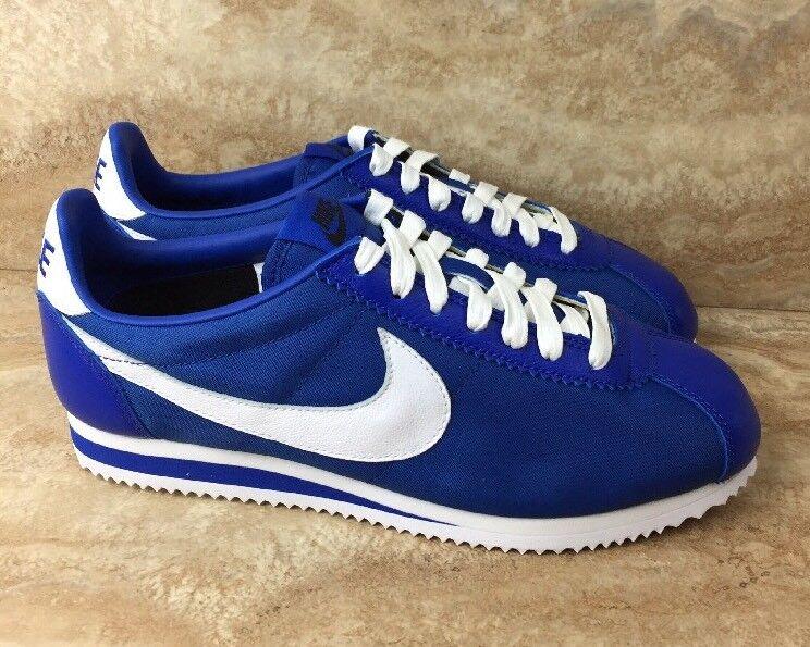 Nike id cortez classico premio nylon scarpe da uomo bianco e blu dimensioni