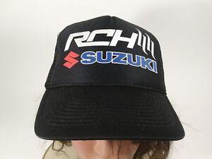 b36c584d1 Details about Vintage Suzuki RCH Black Trucker Hat Ball Cap String Front