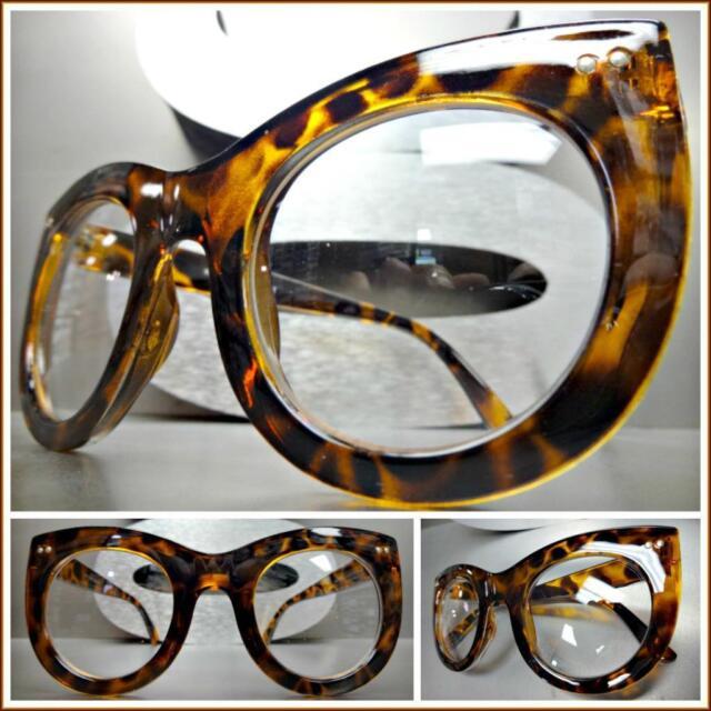 OVERSIZED RETRO Style DESIGNER Fashion SUNGLASSES Thick Black Frame Yellow Lens