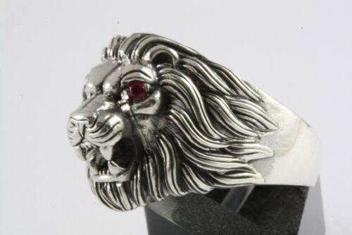 León Lion anillo Biker cabeza león anillo plata anillo real 925 plata//499