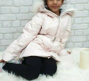 NUOVO-Autentico-ELSY-RRP-279-eta-5-anni-Girls-Rosa-Pelliccia-Down-Jacket-Coat-JK14
