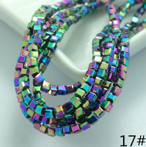 Wholesale New 200pcs CUBE SQUARE Crystal Glass Loose Beads 2 mm Bracelet Bijoux