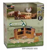 Barn Playset Stable Collecta 89331 W/ Farm Animals Works W/ Safari, Schleich