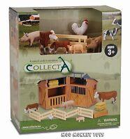 Barn Playset Stable Collecta 89331 W/ Farm Animals Works W/ Safari, Schleich