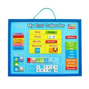 First Weather Calendar Wooden Magnetic Hanging Chart Educational Toy Nursery
