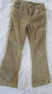 Girls-10-Regular-Arizona-Jeans-Co-adjustable-waist-lt-brown-pants-w-decoration