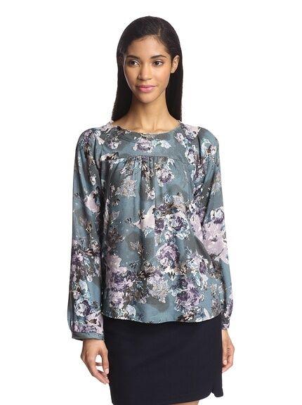 D. RA - M - NWT - bluee Purple Floral Print - Raw Edge Woven Tunic Top - dra d.Ra