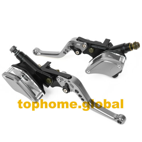 Motorcycle Dual Hydraulic Brake Clutch Master Cylinder Reservoir Lever Perch GN
