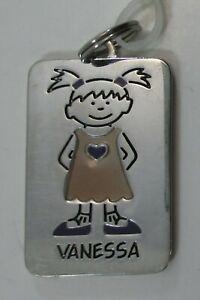 Vanessa NAME CHARM dog tag pendant zipper pull key chain ...