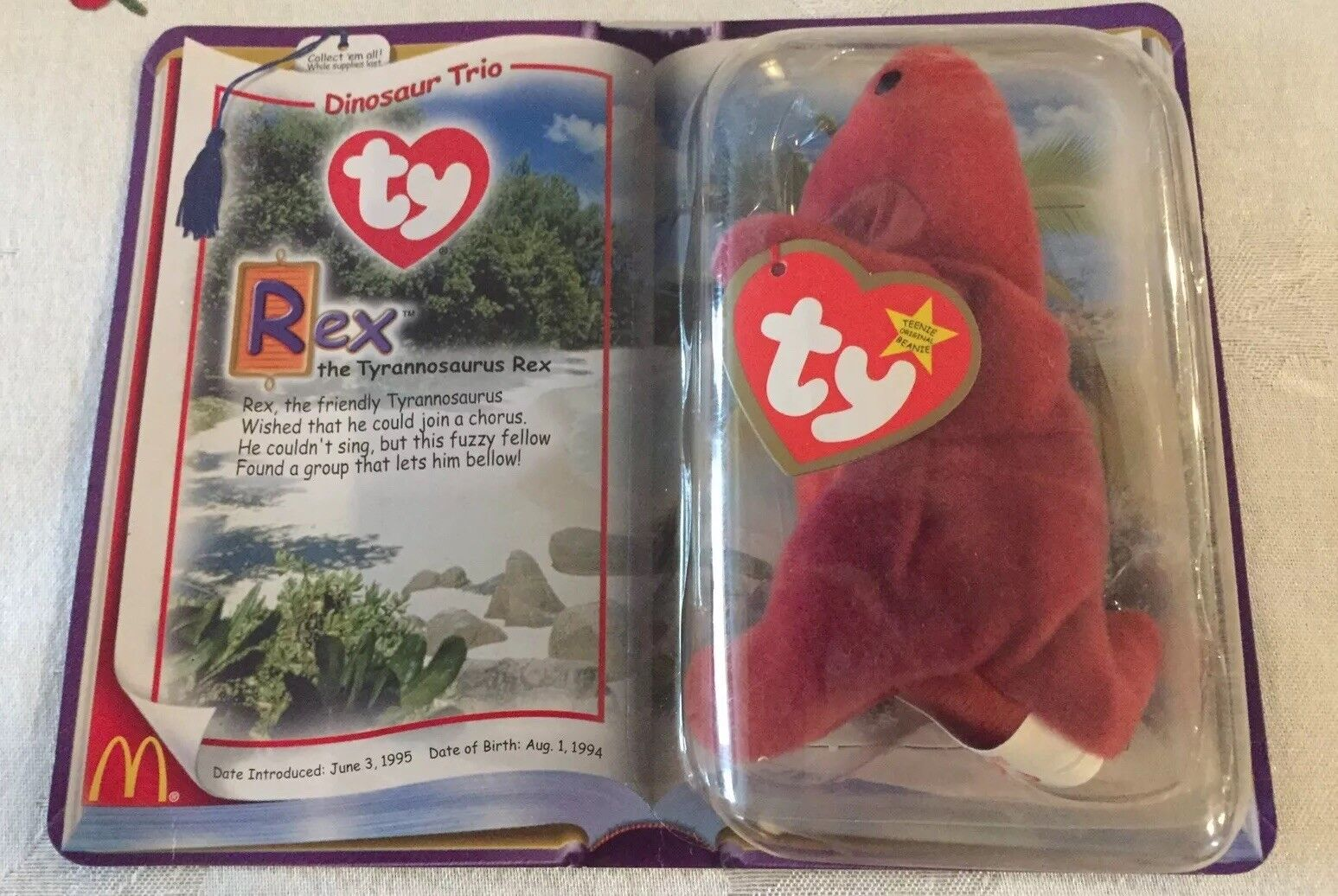 Ty mcdonalds dinosaurier - trio rex, der t - rex - teenie beanie baby selten neue