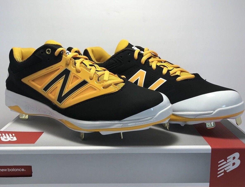 New Equilibrar De los hombres  tamaño 12 Baja Botines de béisbol de Metal Negro Amarillo  Las ventas en línea ahorran un 70%.