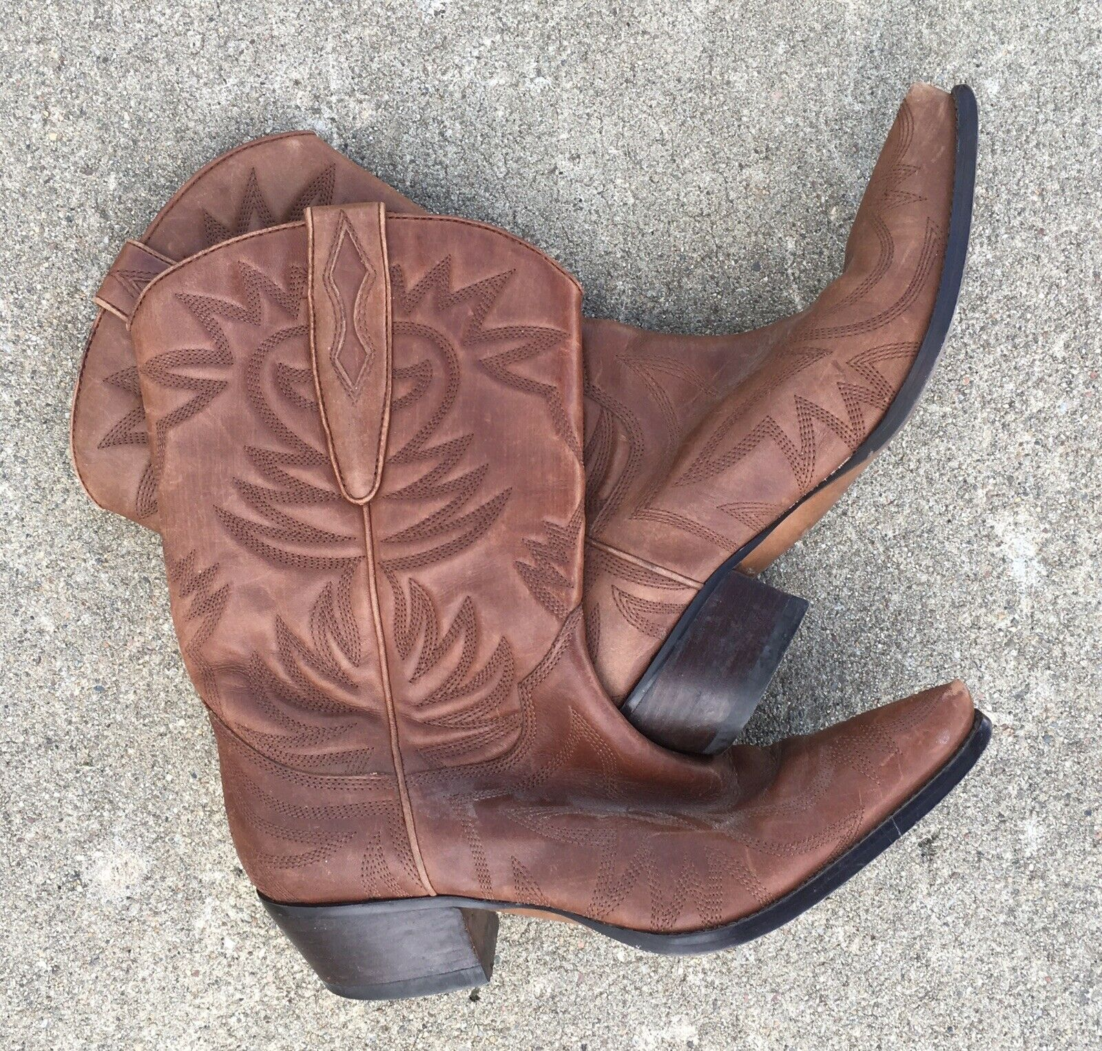 Guess By Marciano Cowboy Boots Western Boots PUNK Brown Leather Upper 7 1 2 M