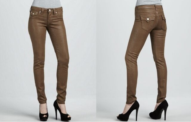 3a3c97e04 TRUE RELIGION Serena Glitter Jeans Beige Size 25 Skinny Jeans MADE IN USA