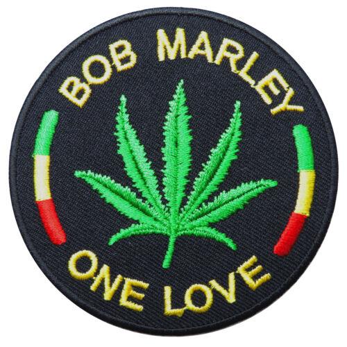 Bob Marley One Love Marijuana Leaf Weed Reggae Rasta Peace Iron-On Patches #R020