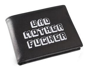 Schwarz-und-weiss-bestickt-BMF-Bad-MOTHER-FU-er-Pulp-Fiction-Leder-Portemonnaie