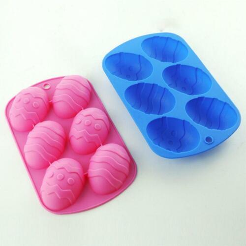 6 Cavity Easter Egg Shaped Bakeware Mould Dessert Silicone Cake Baking Tools NEW
