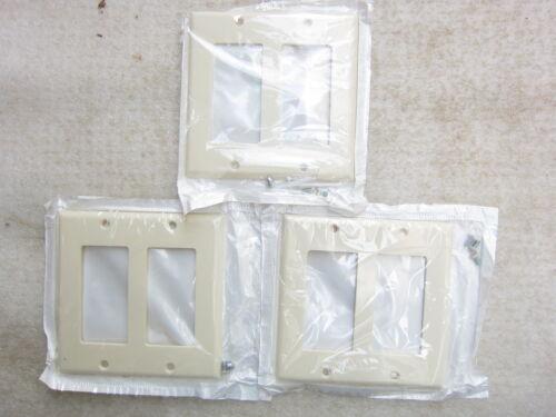 Leviton 80409-A 2-Gang Almond Decora//GFCI Standard Wall Plate Lot of 3 NIB