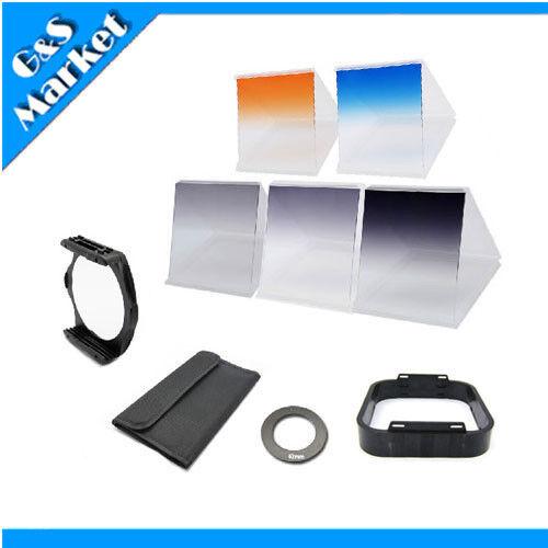 6 filter kit Gradual ND2 ND4 ND8 Orange Blue/ 62mm ring adapter f Cokin p series