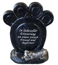 Grabdeko Gedenkstein Pfotenabdruck mit Spruch Tiergrabstein Grabdeko Hund