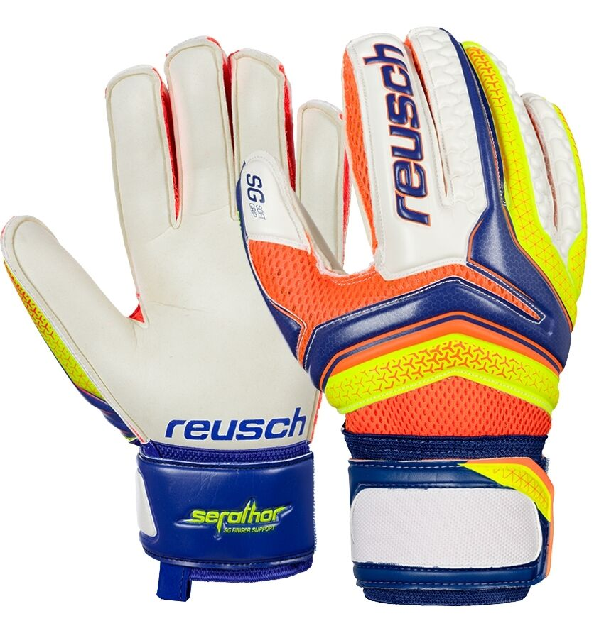 Gants Gardien de but Football Reusch Serathor SG Doigt Soutien bluee Attelles