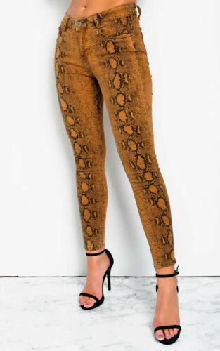 IKRUSH Womens Geo Skinny Snake Skin High-Rise Jeans