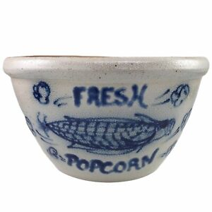 Rowe Pottery Works Fresh Popcorn Bowl Salt Glazed Stoneware Hand Painted Vintage