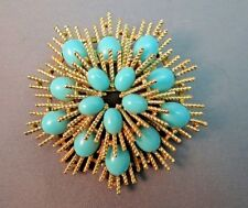 VTG Avon Star Burst Faux Turquoise Brooch Gold Plated Textured Blue Cabochons