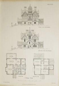 1868-Architektonisch-Aufdruck-Huette-Orne-Muehle-Gruen-Essex-Elevation-Boden-Plan