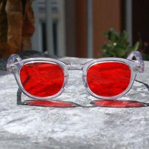 Vintage-Johnny-Depp-sunglasses-crystal-clear-glasses-cherry-red-lenses-unisex
