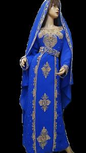 Marroquí Árabe Multicolor Caftán Boda Vestido Thobe Islámico Takshita Var