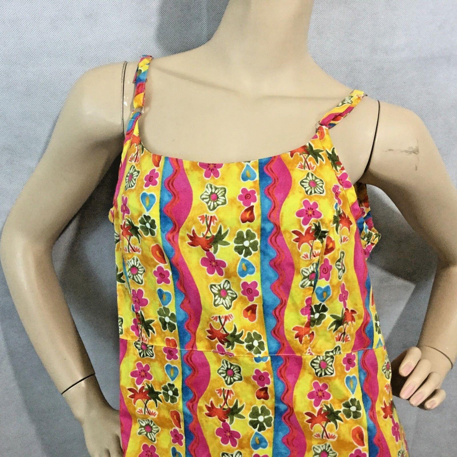 Hilo Hattie Hawaiian Shift Sun Dress Sz M Yellow Flowers Flora Knee Sleeveless