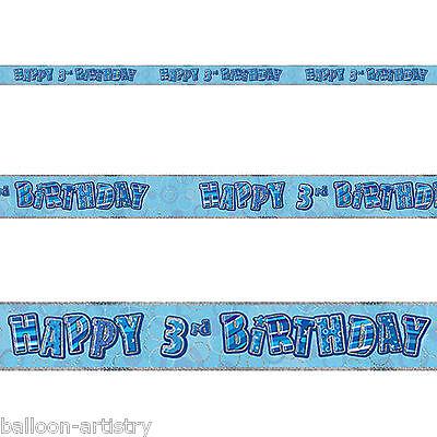 9ft Happy 3rd Birthday BLUE Boy Glitz Prismatic Banner