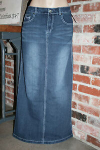 NEW!!~PAXTON JEANS~LONG Straight DENIM SKIRT~2 4 6 8 10 12 14 16 ...