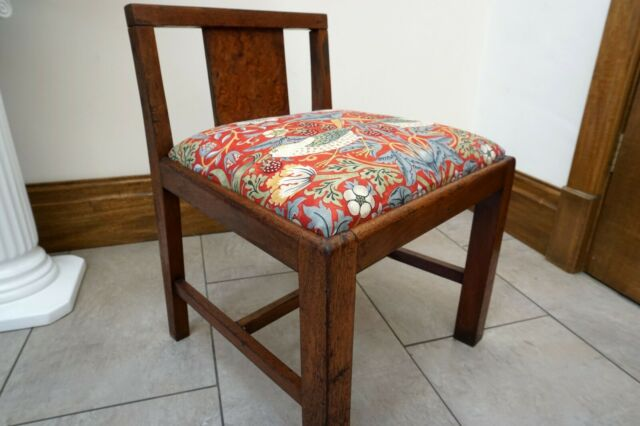 Vintage Child's Chair Refurbished in Red William Morris Strawberry Thief Fabric