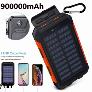 2021 Super 900000mAh 2 USB Portable fast Charger Solar Power Bank for Cell Phone