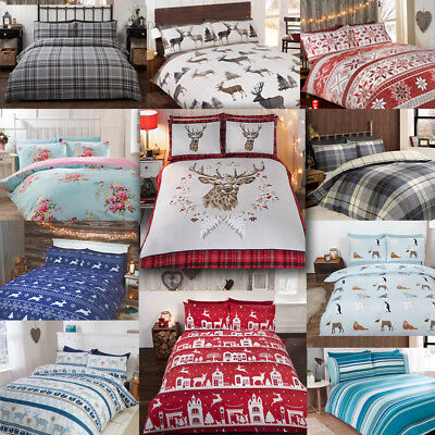 100% Brushed Cotton Flannelette Reversible Duvet Quilt Cover Bedding from £13.50